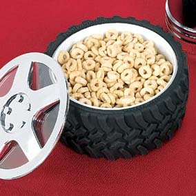 Tire Bowl Snack Candy Knobby Tread Hubcap Mechanic Motorhead Car Engineer Gift
