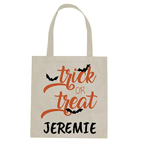 (BleuReign Custom Personalized Name - Flying Bats - Reusable Candy Halloween Trick Or Treat Ivory Tote)