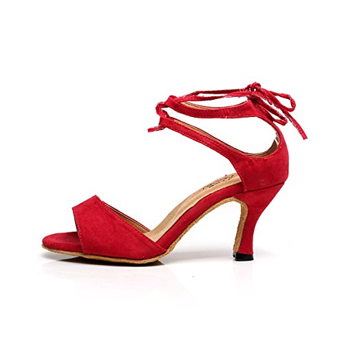 Samba Bottom Shoes Modern Sandals Strap Red BYLE Ankle Soft Shoes Latin Fabric Dance Dance Jazz Onecolor Leather SgxZI