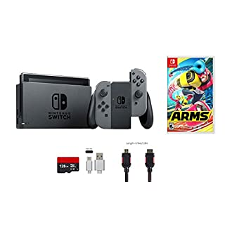 Nintendo Switch Bundle (6 items): 32GB Console Gray Joy-con, 128GB Micro SD Card, Game Disc-ARMS, Type C Cable, HDMI Cable Wall Charger
