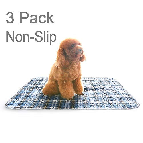 - Non-Slip & Washable Puppy Pee Pads, 2 Large (24x36) + 1 Small (18x24) Free Travel Pad, Quick Absorbent, Stain Resistant, Reusable, Waterproof for Dogs, Cats and Bunny
