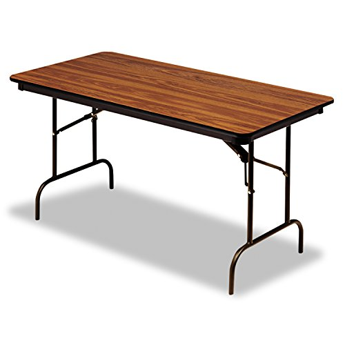 "Iceberg ICE55235 Premium Wood Laminate Folding Table with Brown Steel Legs, 30"" Length x 96"" Width x 29"" Height, Oak"