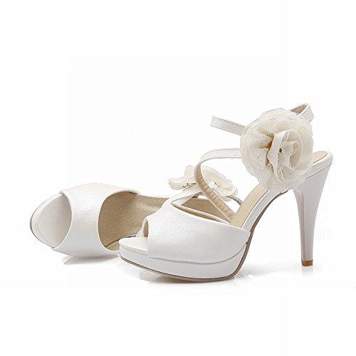 Carolbar Womens Spets Applikationer Bungee Brud Peep Toe Plattform Elegans Stilett Klack Klänning Sandaler Vit