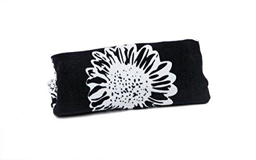 Sac de Plage Femme 46 x 33 cms + Serviette de Plage 75 x 150 cms + Tongs Motif de Fleur Airee Fairee Noir