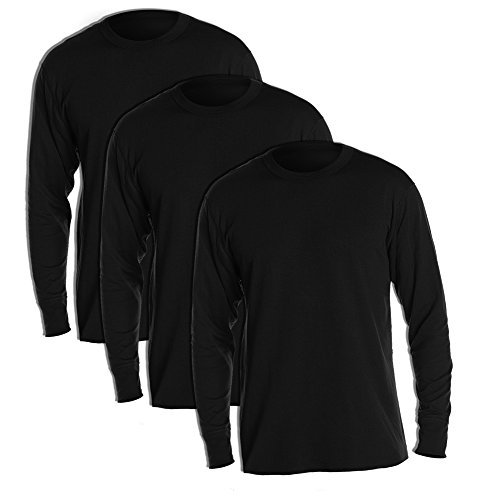 Duofold KMW1 Men's Midweight Thermal Crew Medium Black (Pack of 3) (Duofold Cotton Jersey)