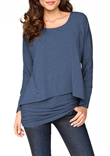 Jusfitsu Women's Casual Loose Layered Long Sleeve Tunic Top Blouse Dresses Navy Blue L (Silky Blouse Cotton)