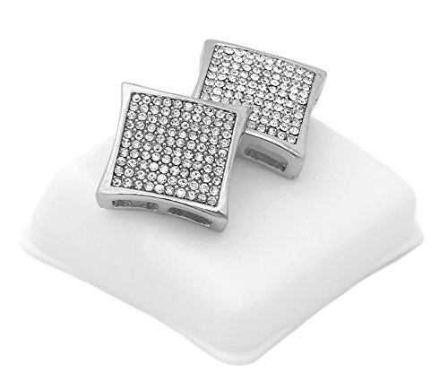 Mens Silver Tone Iced Out Cz 16mm Dome-Kite Earrings 10 Row Micro Pave Hip-Hop KD10 ()