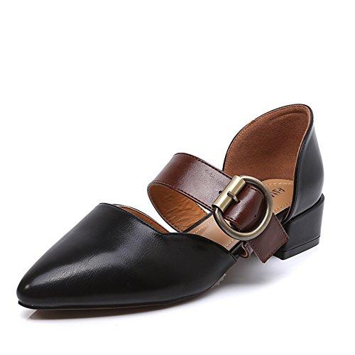 Zapatos De Mary Jane,Vintage Cientos De Tacones,Zapatos Gruesos Del Talón De La Versión Coreana De Baotou,Sandalias De Tacón Medio A