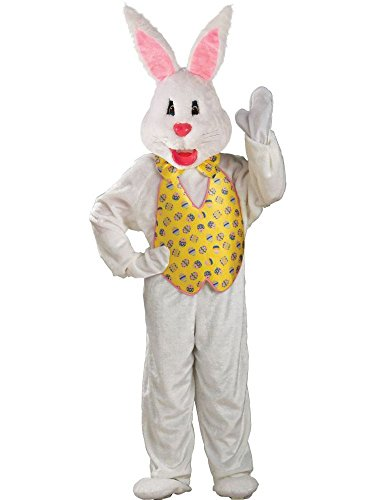 Rubie's Adult Deluxe Bunny Costume With Mascot Head,White,One Size]()
