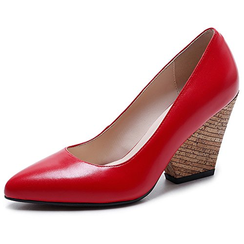 Nine Seven Cuero Puntiagudos Tacones de Tacón de Cuña de Vestir para Mujer Rojo