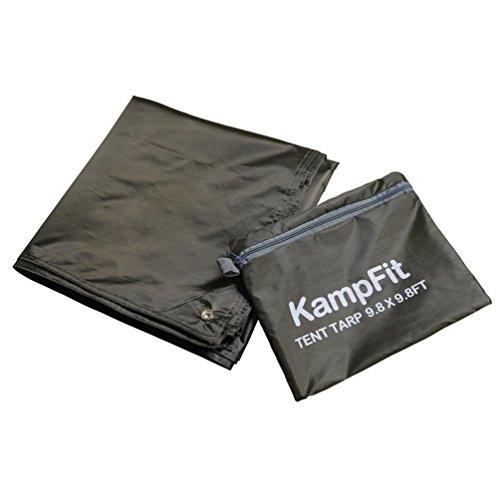 KampFit 9.8'x9.8' Waterproof Tent Tarp with 6 Pcs Ultralight Tent Stakes, Dark Green - Silicone Nylon Tarp