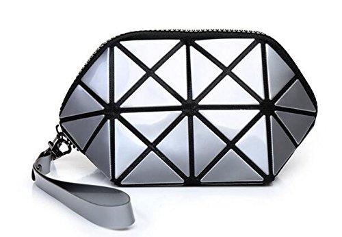 Mogor Fashion Durable Geometric Design PU Leather Cosmetic Bags Makeup Bag Wristlet Purse Clutch Bag (Flat Mesh Clutch)