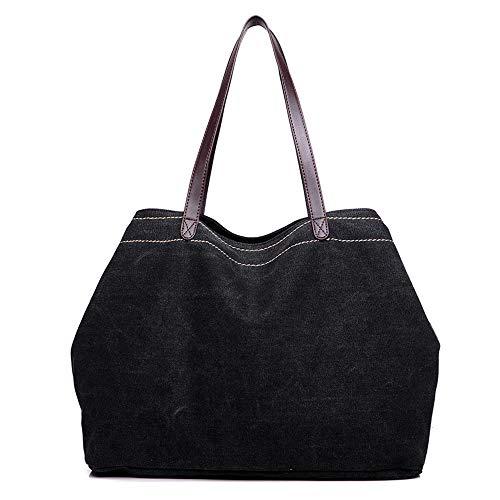 Top GOLD Shoulder Style Black Hobo Bag Handle KISS Tote Large Canvas Casual TM Bag HfZnUT