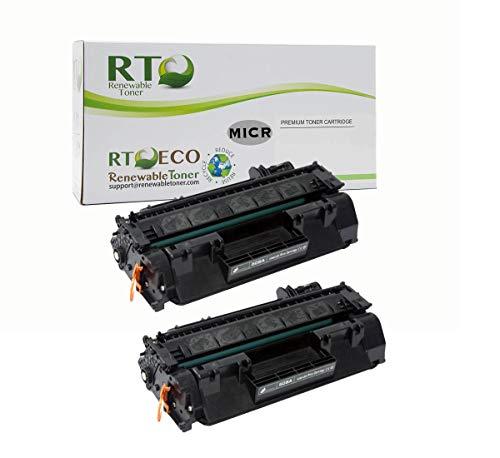 Renewable Toner Compatible MICR Toner Cartridge Replacement for HP CE505A 05A for Laserjet P2030 P2035 P2050 P2055 (2-Pack)