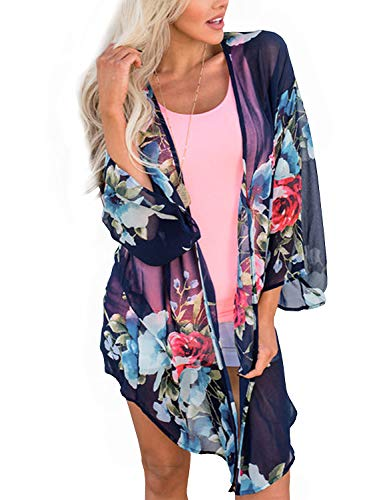 BB&KK Summer Chiffon Cardigan Long Kimonos for Women Boho-Chic Style Open Front Cover Ups Floral Kimono Jacket Wraps Tops Capes Shawl (Navy Blue, Small)