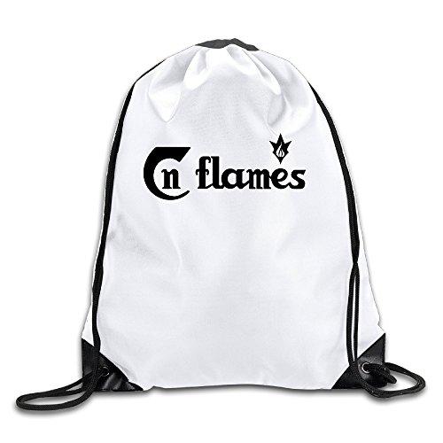 BYDHX In Flames Logo Drawstring Backpack Bag White (Prada Blue Sport Bag)