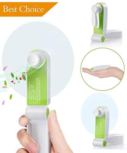 Ronessy Mini Personal Fan, Pocket Fan, Folding Handheld Fan, Portable Fan, Travel Fans Rechargeable(Green)