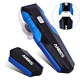 Anbes Ultralight Bluetooth Headsets Bluetooth 4.1 Wireless Stereo Earbuds Running Gym Exercise Earphones with Removable Replaceable Batteries,Built-in Mic for Smartphones (Black+Blue)