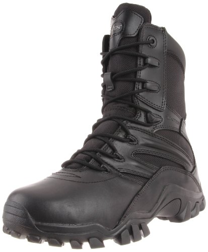 "Bates Mens Boot 8"" Delta Side Zip Black Black"