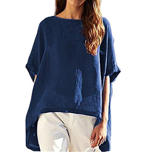 (Women Plus Size Cotton and Linen Tee Shirts, Boat Neck Short Sleeve Irregular Hem Summer Loose t-Shirts Blouse Tops(Blue, XXXL))