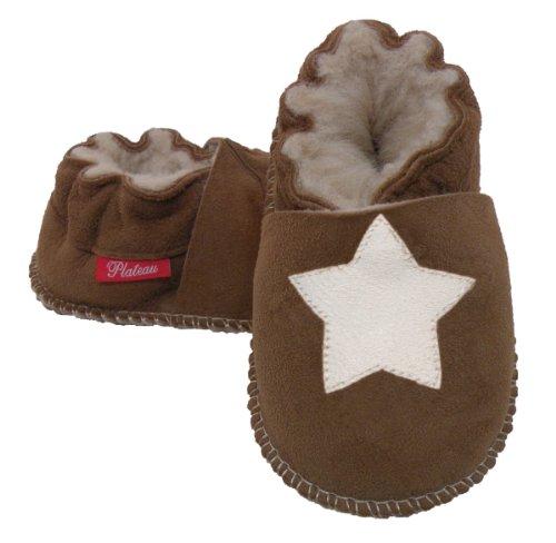 Plateau Tibet - ECHT LAMMFELL Baby Kinder Schuhe Babyschuhe Krabbelschuhe Jungen Mädchen Lammfellschuhe - Stern weiß Braun (Chestnut)