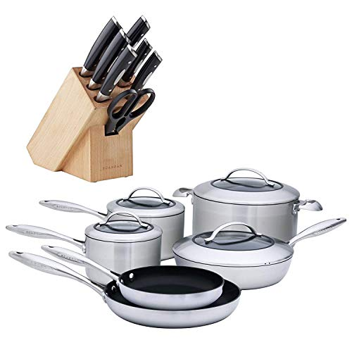(Scanpan 8-Piece Knife Block Set and CTX 10-Piece Deluxe Cookware)