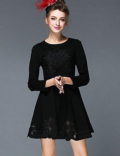 GSP-Damen Kleid - Übergrößen Übergröße / Retro / Party / Arbeit / Leger Solide Mini Baumwolle / Nylon / Elasthan Rundhalsausschnitt