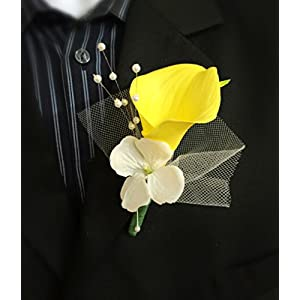 Boutonniere - Yellow Calla Lily Pearl Tulle Hydrangea Artificial Flower 90