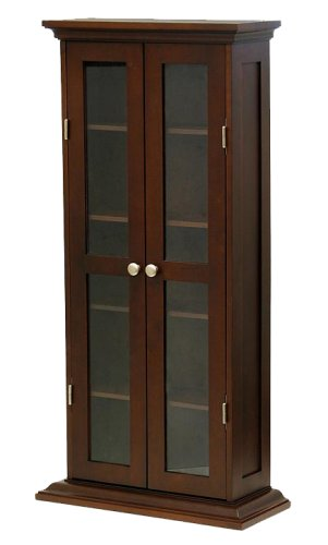 Winsome Wood CD/DVD Cabinet with Glass Doors, Antique - Dvd Door Cd / Glass