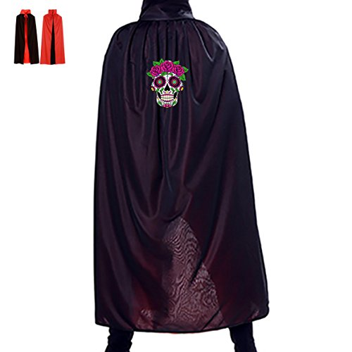 Girl Skull Mask Halloween Cloak Cape Party Cosplay Long Reversible Adult Death Unisex