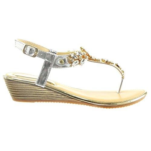 Angkorly - Scarpe da Moda sandali cinturino aperto donna gioielli lucide Tacco zeppa 2 CM - Argento