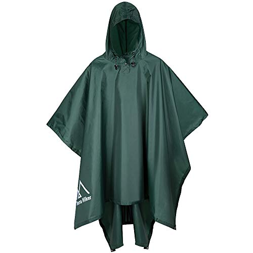 Terra Hiker Rain Poncho, Waterproof Raincoat with Hoods for Outdoor Activities (Army Green) (Cap Orange Military)