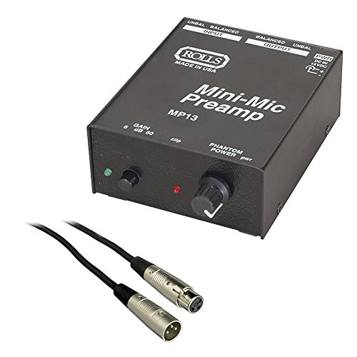 (Rolls MP13 Mini Microphone Preamp with SM Series XLR M to XLR F Microphone Cable - 6')