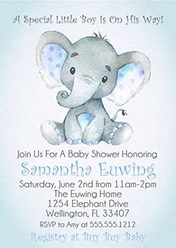 Blue Elephant Baby Shower Invitations, Baby Boy Blue Elephant Baby Shower Decor, Elephant Baby Shower Invitations With Envelopes