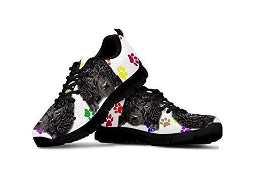 Retriever Coated Sneakers Print Black Cute Casual Women's Curly Dog 5qI06x4Ew