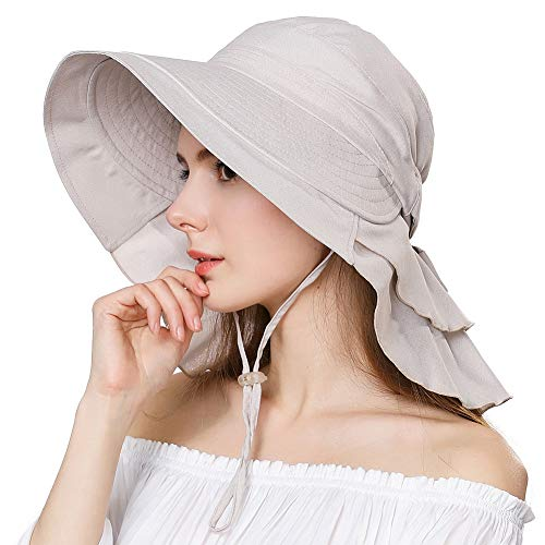 Siggi Wide Brim Summer Sun Flap Bill Cap Cotton Hat Neck Cover UPF 50+ for Women Beige