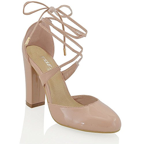 543d2c70399 60%OFF Essex Glam Women s Lace Up Tie Wrap Block Heel Strappy Synthetic  Pumps Court