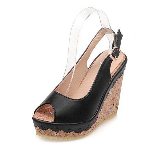 Amoonyfashion Kvinna Peep Toe Höga Klackar Mjukt Material Fast Spänne Sandaler Svart