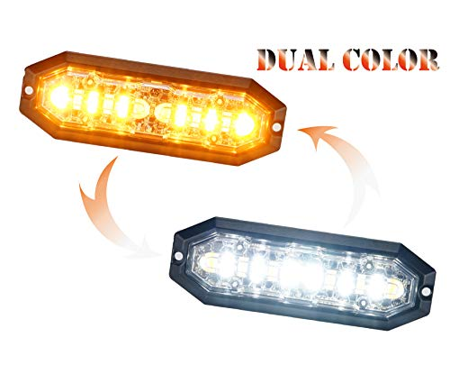 Unicorn Lighting UT01 Surface Mount Warning Emergency Strobe Grille Light Head [SAE class 1] [Dual Color] for Police and truck vehicle Amber White