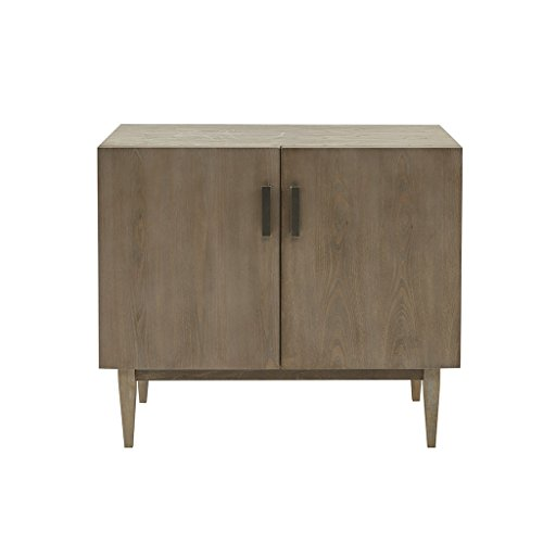 Madison Park MP130-0551 Sloane 2 Shelves Wine Vintage Rustic Modern, Solid Wood Legs Buffet/Sideboard Kitchen Room Furniture Accent Cabinet, Grey