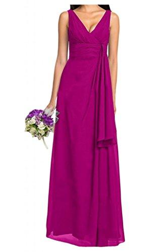 Diseño V-cuello de la Toscana de novia por la noche fiesta de dama de honor vestidos de gasa largo bola Prom vestidos fucsia 50