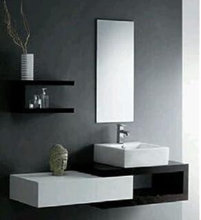 Mobile Arredo Bagno 80cm moderno sospeso wengè grigio con lavabo d ...
