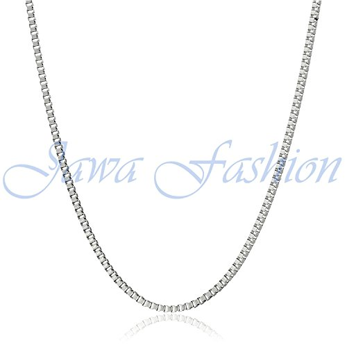 14Kt White Gold 1.3MM Box Chain with Lobster Claw Clasp by Jawa Fashion