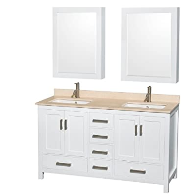 Wyndham Collection Sheffield 60 inch Double Bathroom Vanity in White, Ivory Marble Countertop, Undermount Square Sinks, and Medicine Cabinets - Constructed of environmentally friendly, zero emissions solid wood, engineered to prevent warping and last a lifetime Minimal assembly required Plenty of storage space - bathroom-vanities, bathroom-fixtures-hardware, bathroom - 41e3sarG0YL. SS400  -