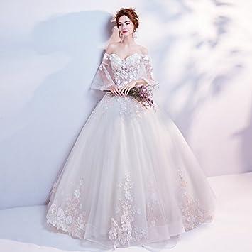 Xianqi pétalos palabra hombro cuerno funda novia manga larga Europea raíz hilo – Vestido de novia