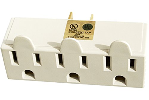 New 3 Outlet Electrical Wall Tap Grounded Adapter Plug - Outlet Pin