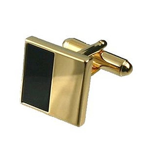 Select Gifts Cuff Links Gold-Tone Onyx Cufflinks~Perfect Christmas Cufflinks Gift + Hand Made Black Pouch