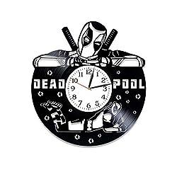 Kovides Xmas Gift Idea for Boys Movie Art Deadpool Wall Art Marvel Comics Gift Lp Vinyl Retro Record Wall Clock Exclusive Birthday Gift for Man Deadpool Clock Wall Clock Vintage