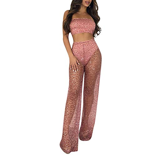 Womens Mesh See Through Glitter Sequins Bodycon Sexy Club 2 Piece Outfits Pants Set and Crop Top