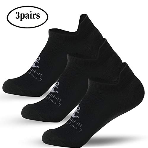 Hidden Comfort No-Show Running Compression Socks for Men and Women (3Pairs) (S/M, Black)